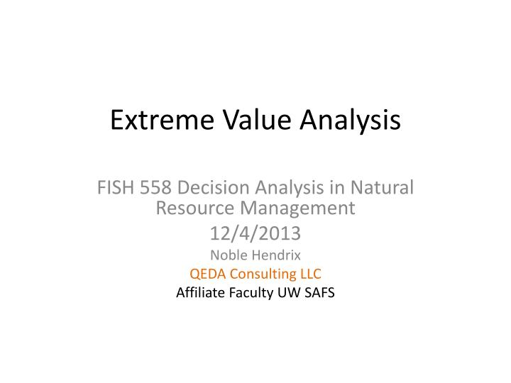 extreme value analysis n.