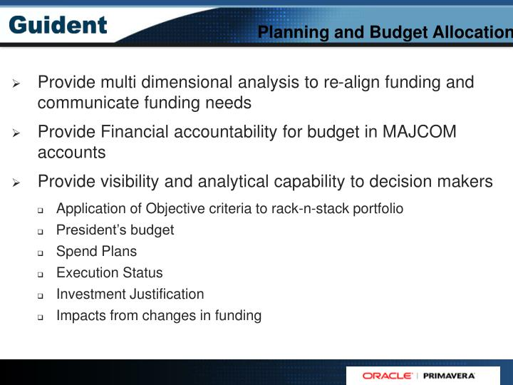 Planning and Budget Allocation