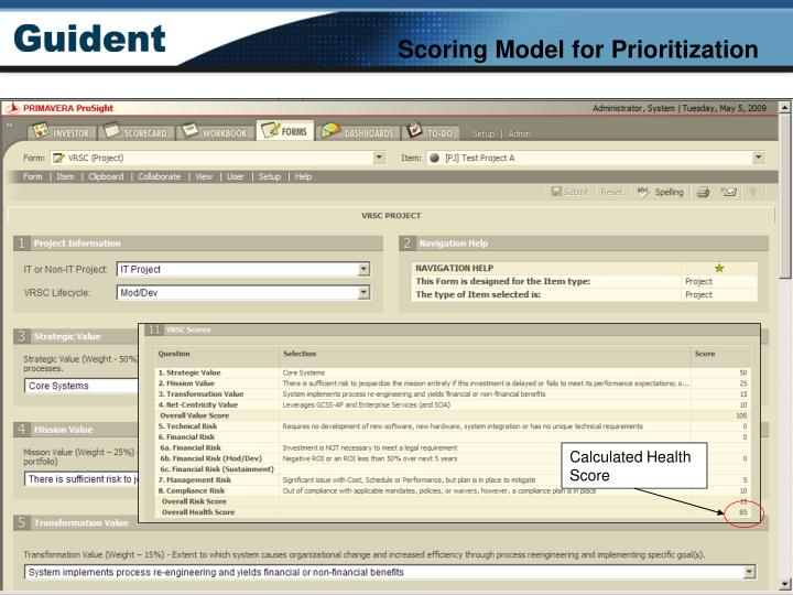 Scoring Model for Prioritization