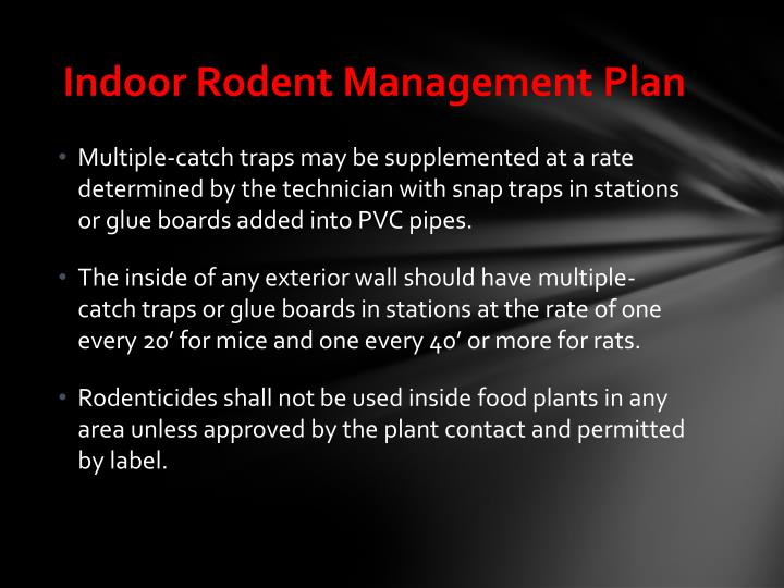 Indoor Rodent Management Plan