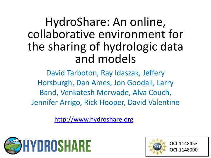 hydroshare an online collaborative environment for the sharing of hydrologic data and models n.
