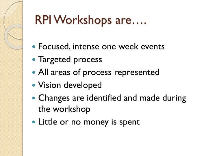 RPI Workshops are….