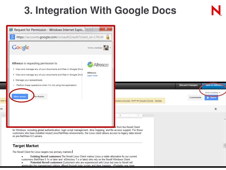 3. Integration With Google Docs