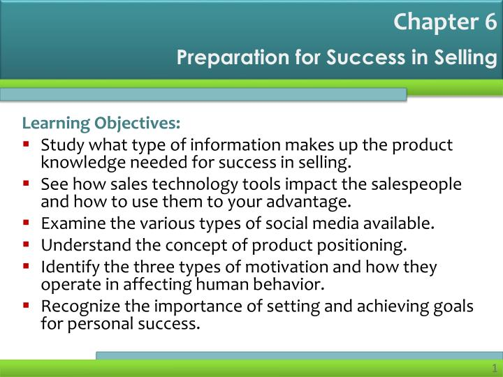 preparation for success in selling n.