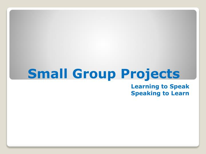 small group projects n.