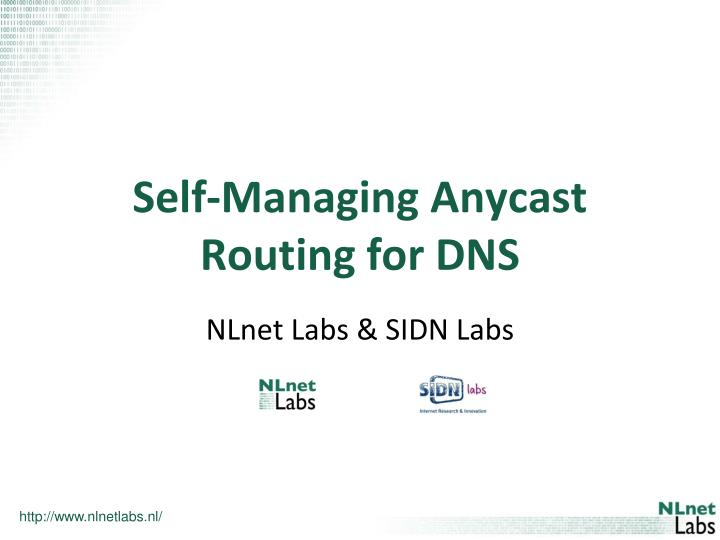 self managing anycast routing for dns n.