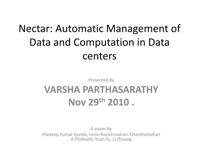 nectar automatic management of data and computation in data centers n.