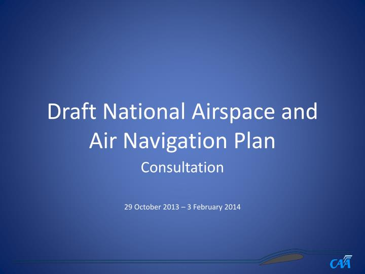 draft national airspace and air navigation plan n.