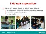 field team organization