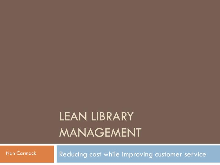 lean library management n.