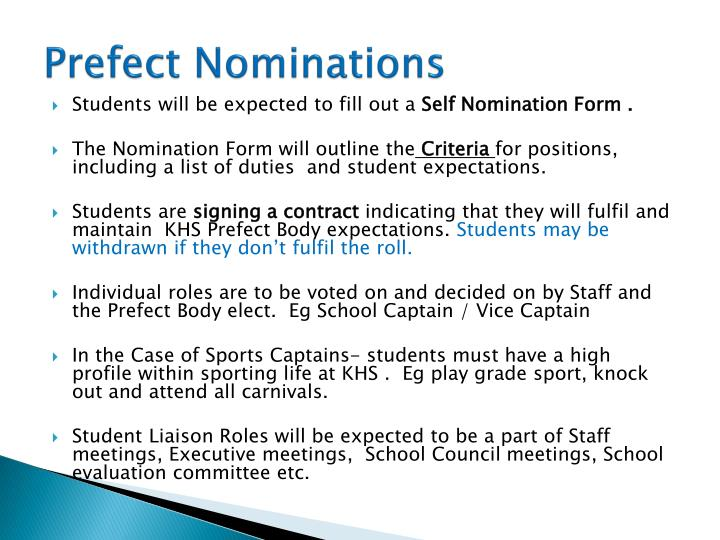 Prefect Nominations