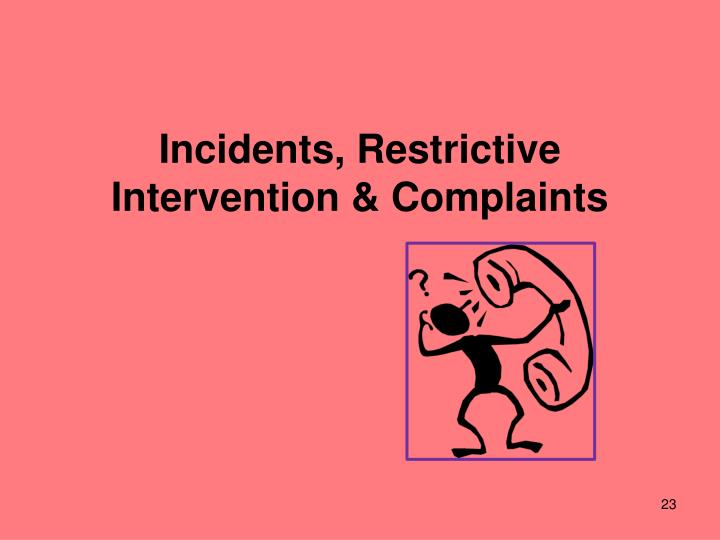 Incidents, Restrictive Intervention & Complaints