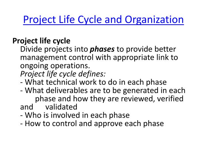 Project life cycle and organization1