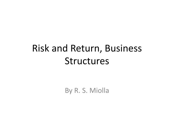 risk and return business structures n.