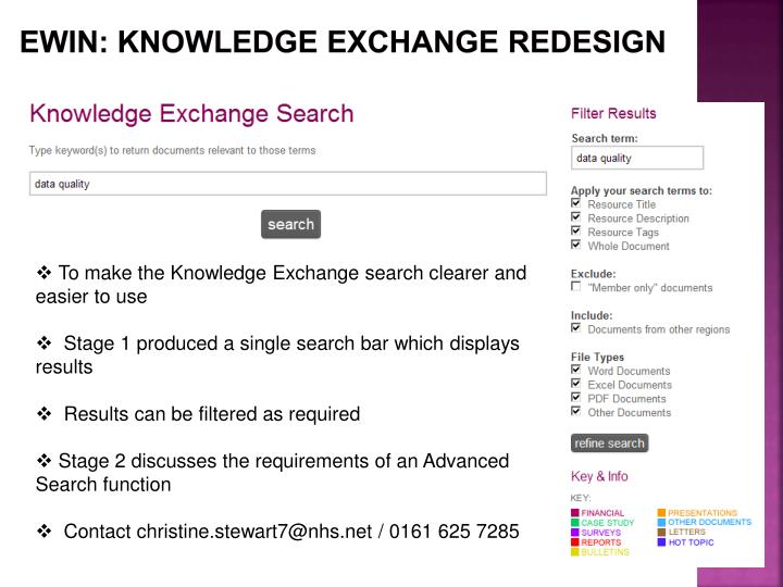 EWIN: KNOWLEDGE EXCHANGE REDESIGN
