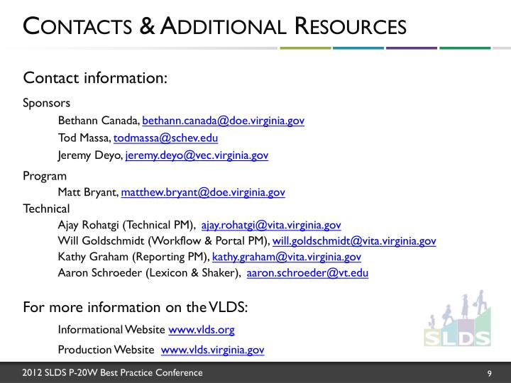 Contacts & Additional Resources