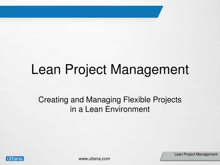 lean project management n.