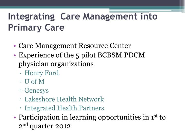 Integrating  Care Management into