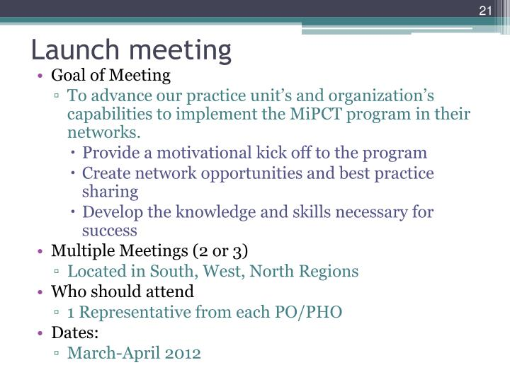 Launch meeting