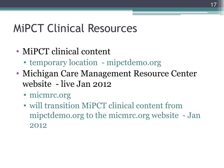 MiPCT Clinical Resources