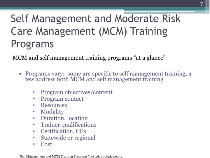 Self Management and Moderate Risk Care Management (MCM) Training Programs