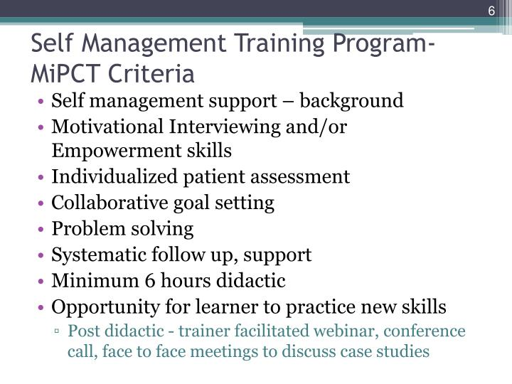 Self Management Training Program- MiPCT Criteria