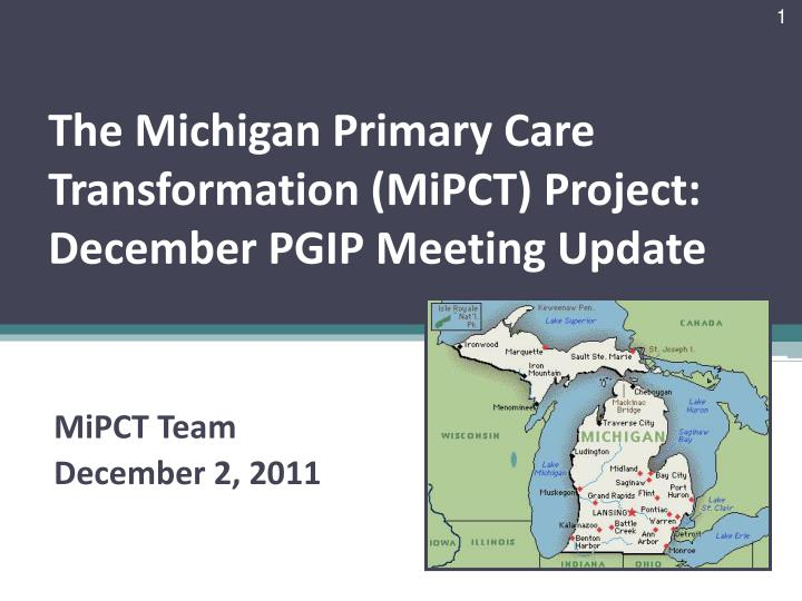 The michigan primary care transformation mipct project december pgip meeting update