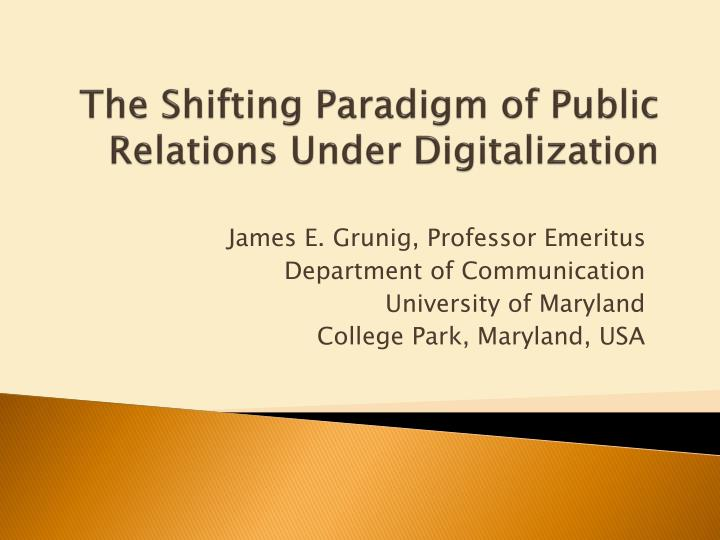 the shifting paradigm of public relations under digitalization n.
