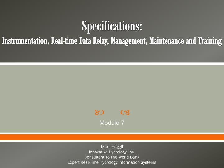 specifications instrumentation real time data relay management maintenance and training n.