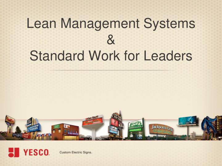 lean management systems standard work for leaders n.