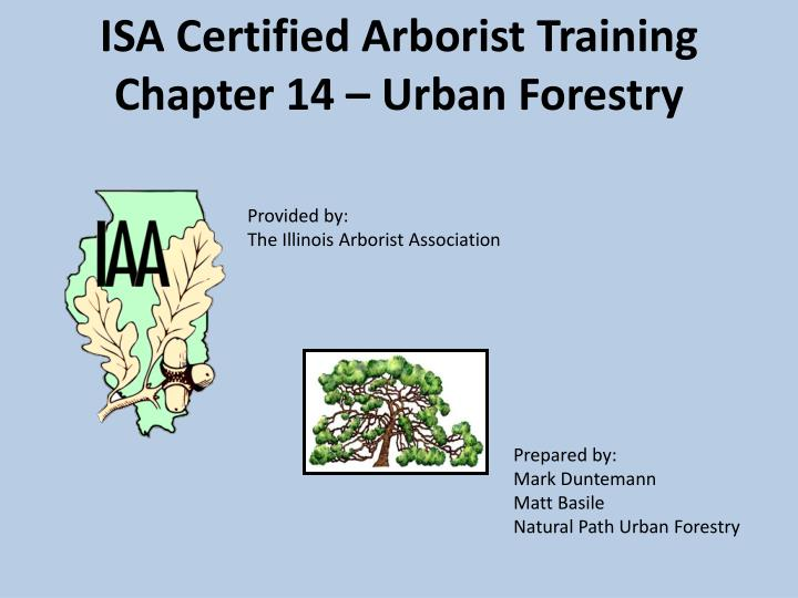 isa certified arborist training chapter 14 urban forestry n.