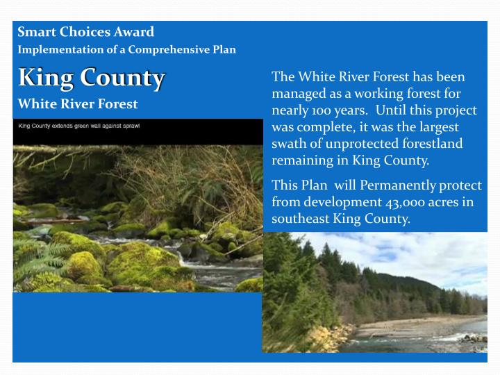 The White River Forest has been managed as a working forest for nearly 100 years.  Until this project was complete, it was the largest swath of unprotected forestland remaining in King County