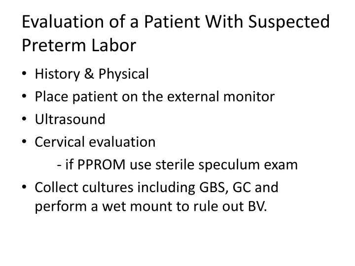 Evaluation of a Patient