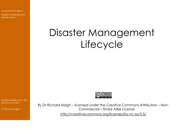disaster management lifecycle n.