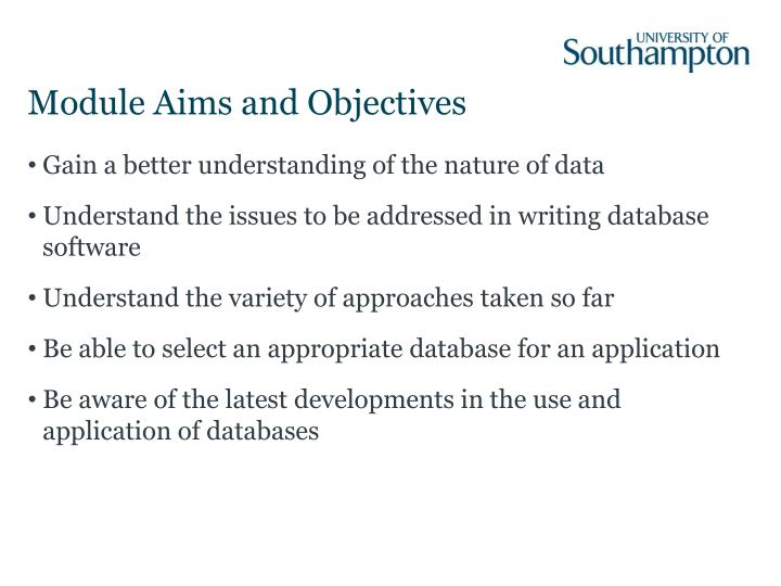 Module aims and objectives