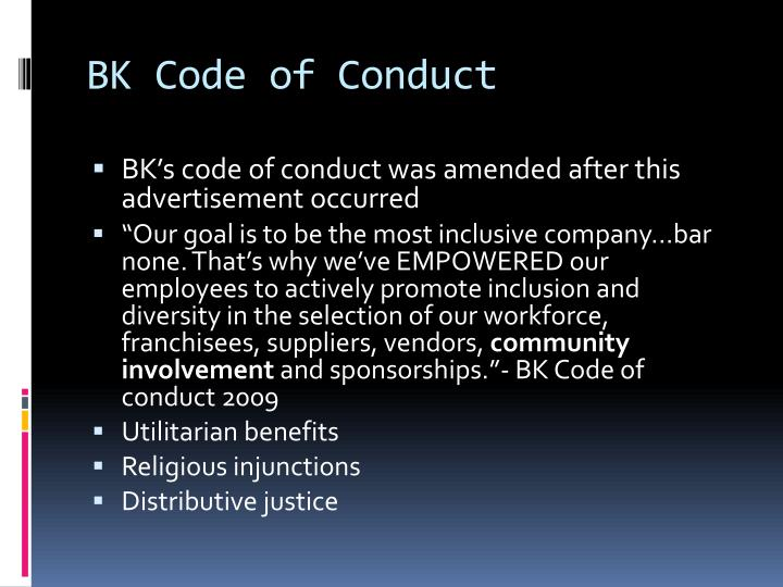 Bk code of conduct