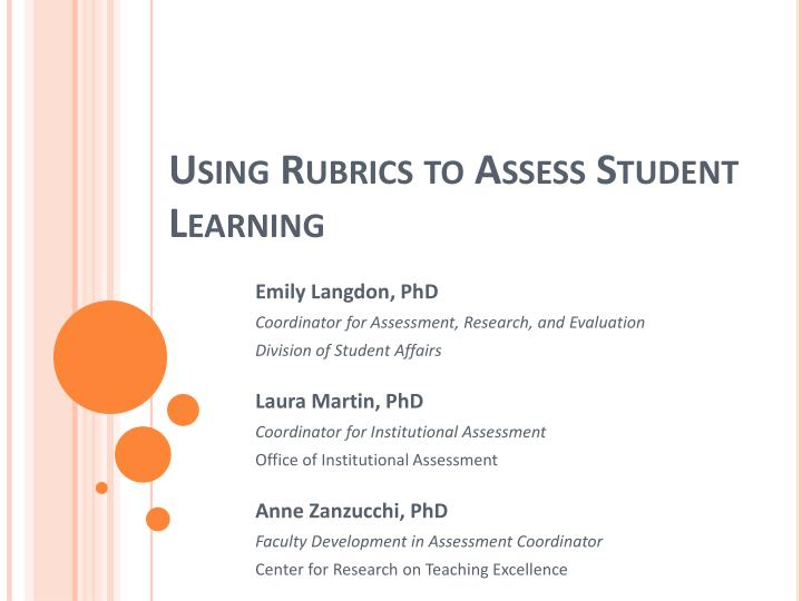 using rubrics to assess student learning n.