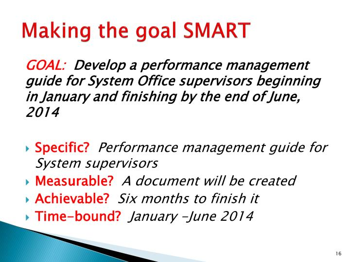 Making the goal SMART