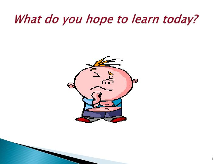 What do you hope to learn today