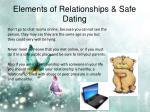 elements of relationships safe dating