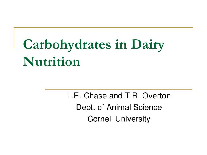 carbohydrates in dairy nutrition n.