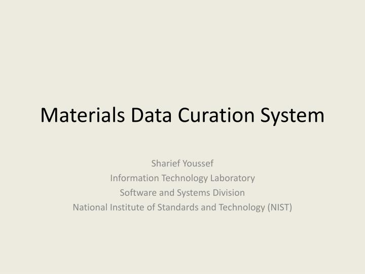 materials data curation system n.