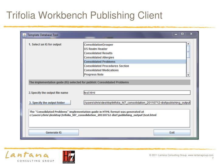 Trifolia Workbench Publishing Client