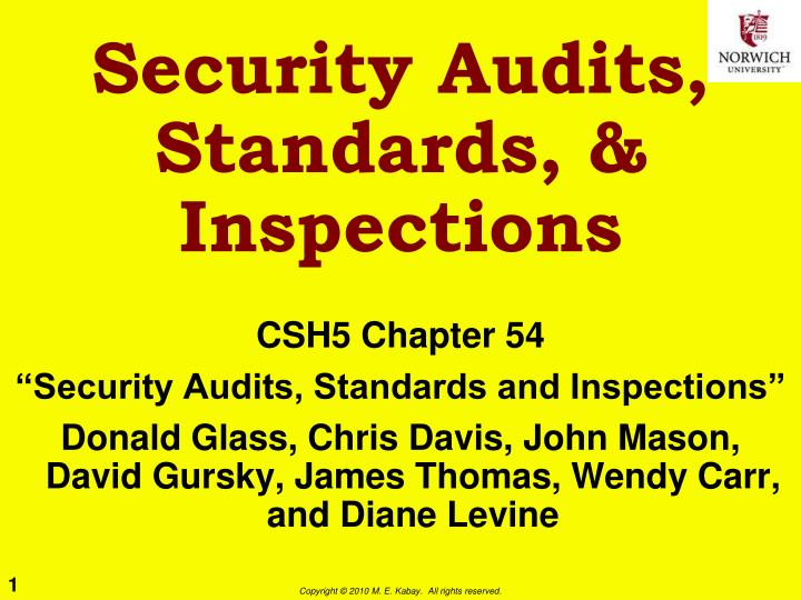 security audits standards inspections n.