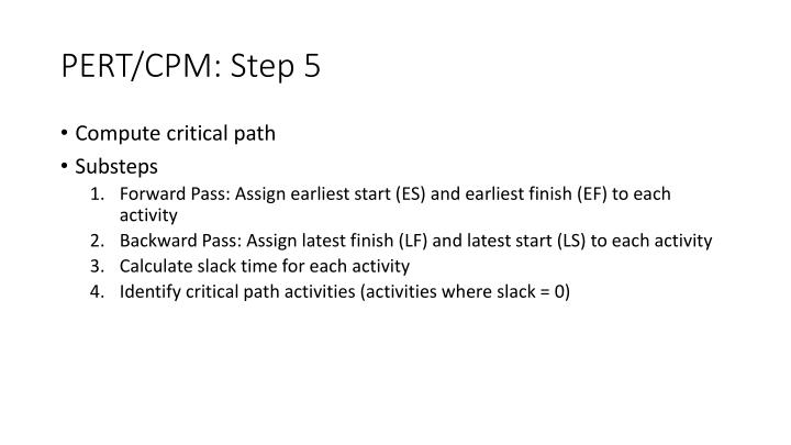 PERT/CPM: Step 5