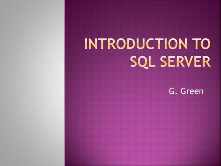 introduction to sql server n.