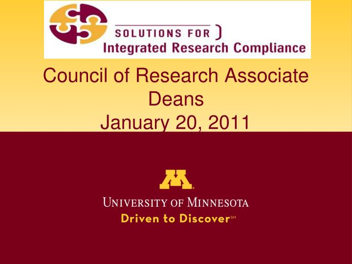 council of research associate deans january 20 2011 n.