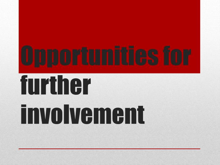Opportunities for further involvement