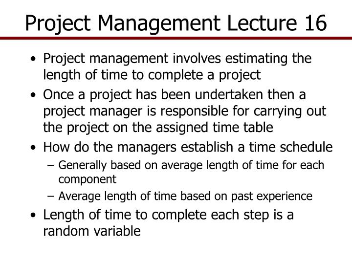 project management lecture 16 n.