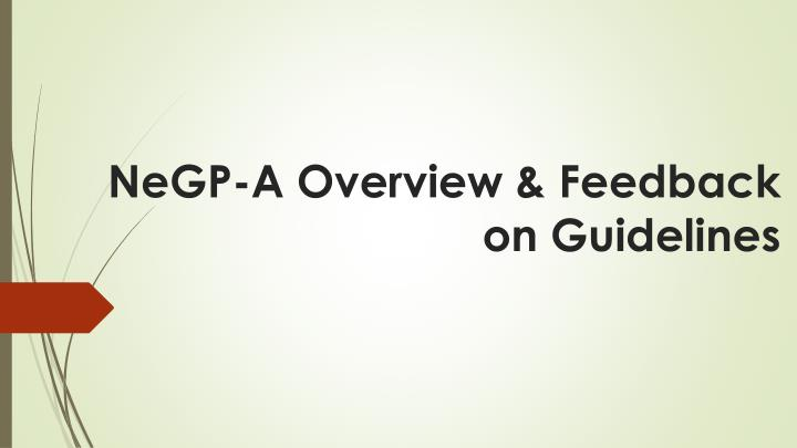 negp a overview feedback on guidelines n.